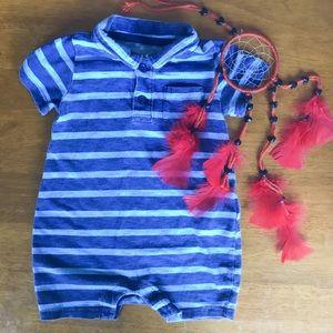 Gap Blue Striped Baby Boy Romper Size 6-12m